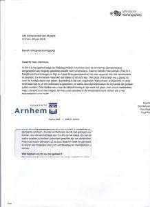 Brief van Koningspleij verzonden in envelop gemeente Arnhem